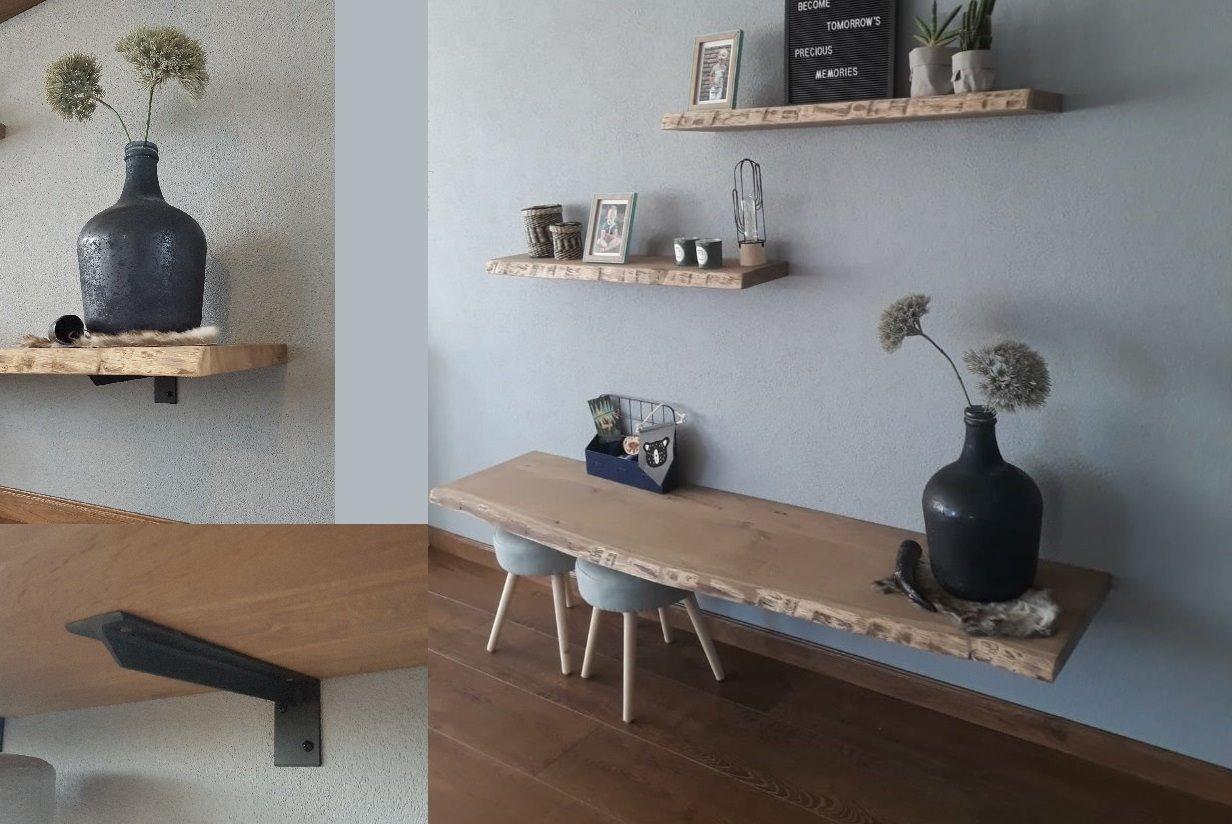 Zwevende Plank 30 Cm Diep.Zwevende Eiken Wandplank Extra Diep Wandplanken En Plankdragers